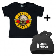 Set Cadeau Guns n' Roses T-shirt Bébé & Loud & Proud Bonnet