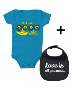 Set Cadeau Beatles Body Bébé Portholes & Love is all you Need Bavoir