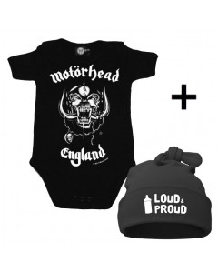 Set Cadeau Motörhead Body Bébé & Loud & Proud Bonnet
