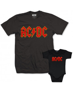 Set Rock duo t-shirt pour papa AC/DC & AC/DC body Bébé Logo Color