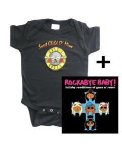Set Cadeau Guns 'n Roses body Bébé & Guns 'n Roses Rockabye Baby lullaby cd